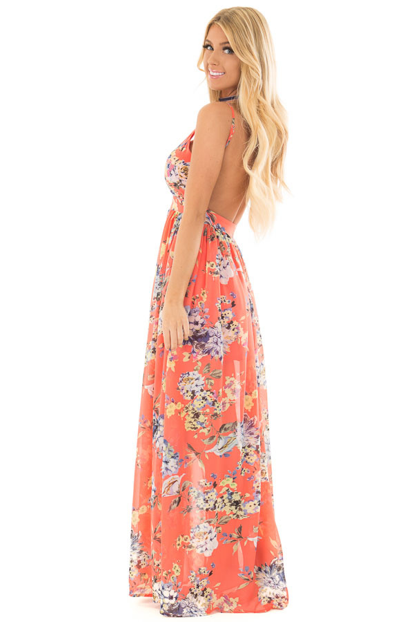Coral Floral Print Open Back Maxi Dress side full body