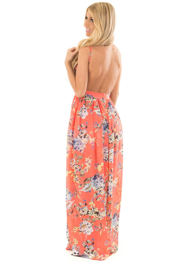 Coral Floral Print Open Back Maxi Dress over the shuolder full body
