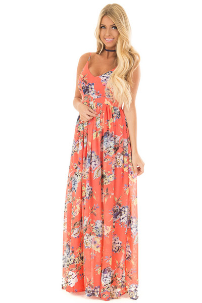 Coral Floral Print Open Back Maxi Dress front full body