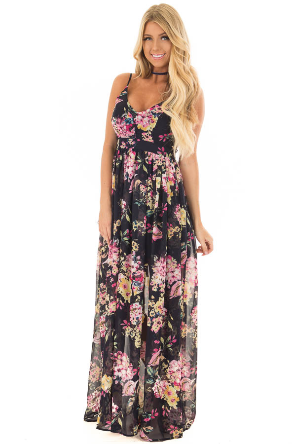 Dark Navy Floral Print Open Back Maxi Dress front full body