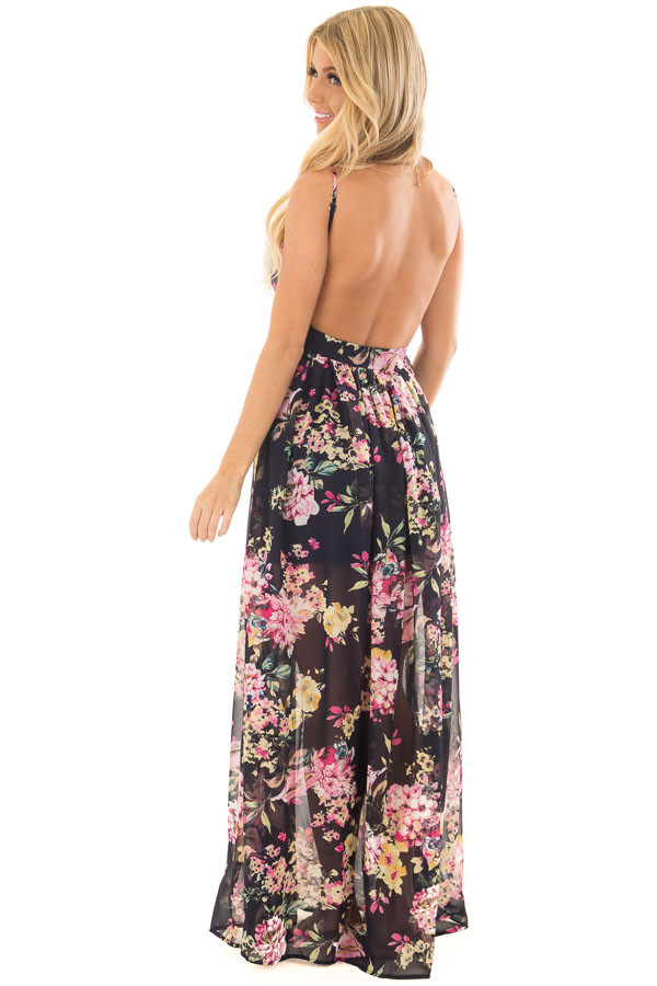 Dark Navy Floral Print Open Back Maxi Dress over the shoulder full body