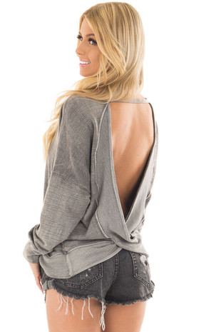 Faded Charcoal Top with Open Back Detail over the shoulder closeup