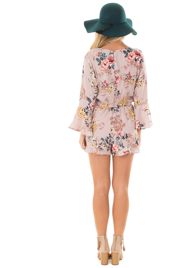 Mauve Floral Print Bell Sleeve Romper with Side Tie back full body