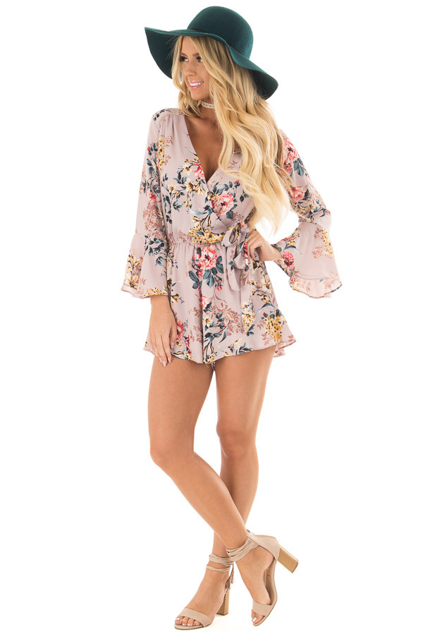 Mauve Floral Print Bell Sleeve Romper with Side Tie front full body