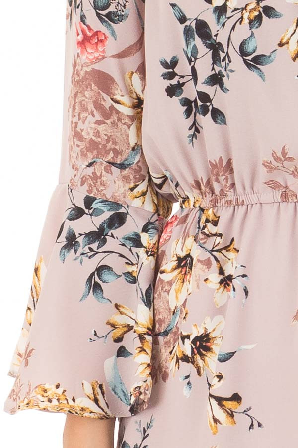 Mauve Floral Print Bell Sleeve Romper with Side Tie front detail