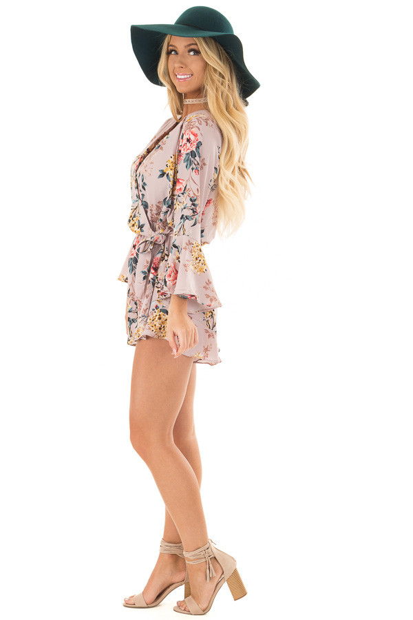 Mauve Floral Print Bell Sleeve Romper with Side Tie side full body