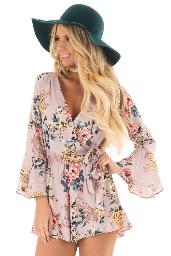Mauve Floral Print Bell Sleeve Romper with Side Tie front closeup