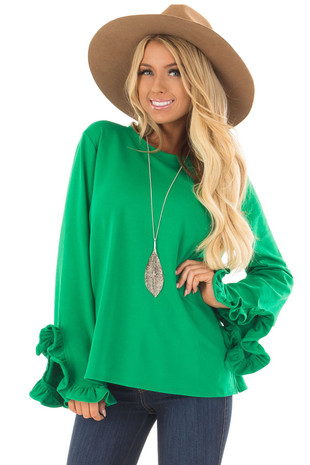 Kelly Green Ruffle Sleeve Sweater front close up
