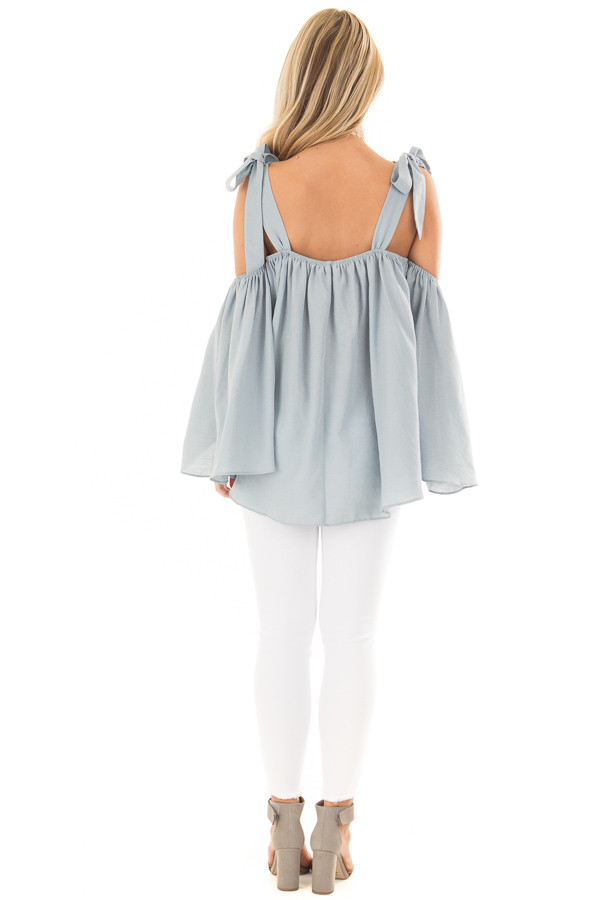 Faded Blue Bare Shoulder Top with Tie Details back full body