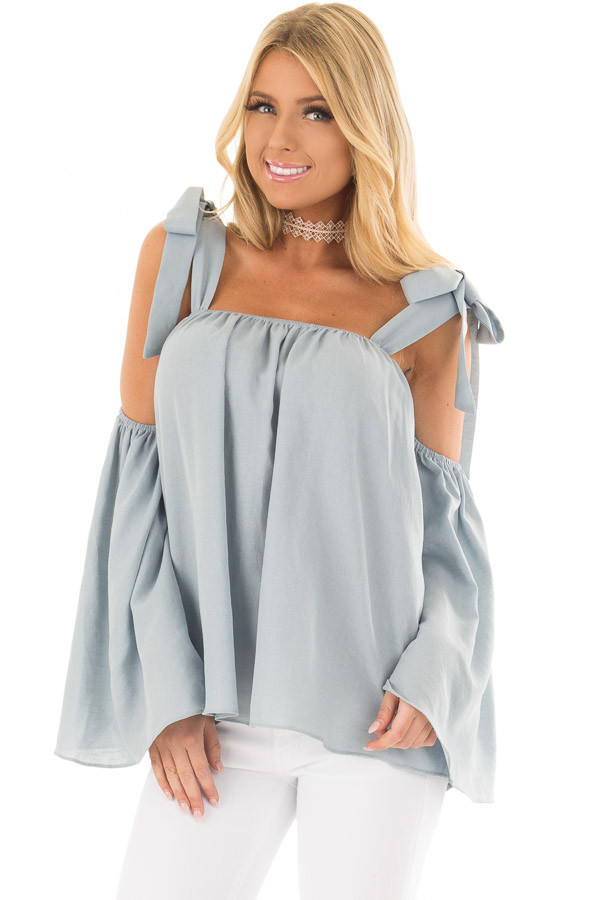 Faded Blue Bare Shoulder Top with Tie Details front closeup