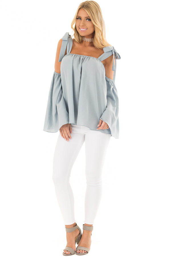 Faded Blue Bare Shoulder Top with Tie Details front full body