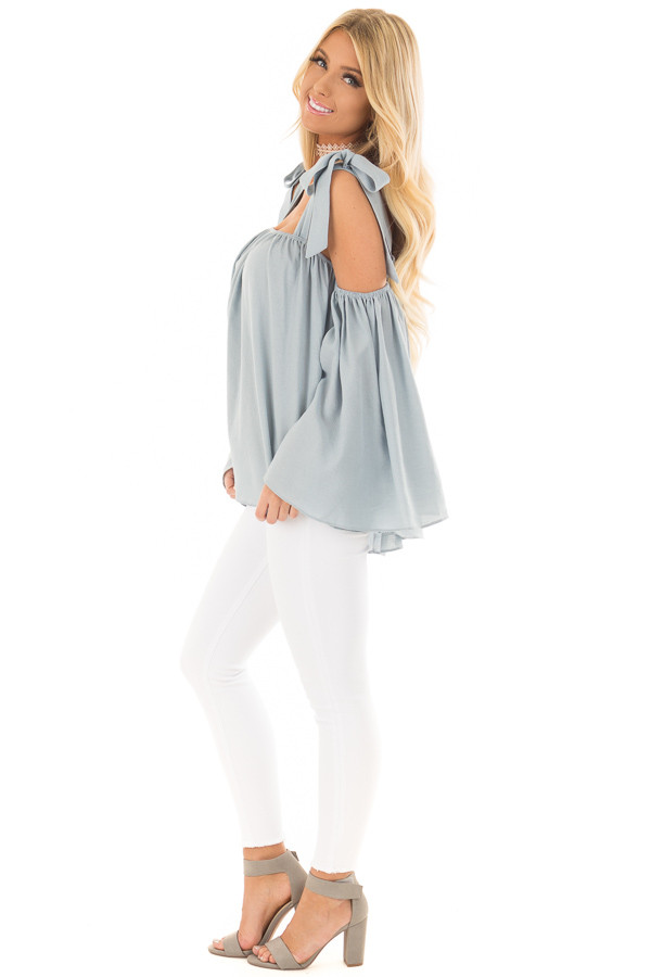 Faded Blue Bare Shoulder Top with Tie Details side full body