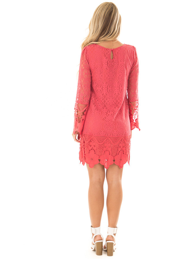 Coral Dress with Sheer Lace Detail back full body
