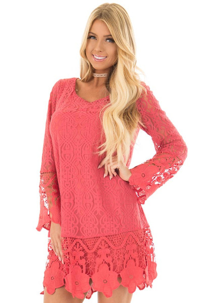 Coral Dress with Sheer Lace Detail front closeup