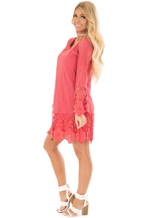 Coral Dress with Sheer Lace Detail side full body