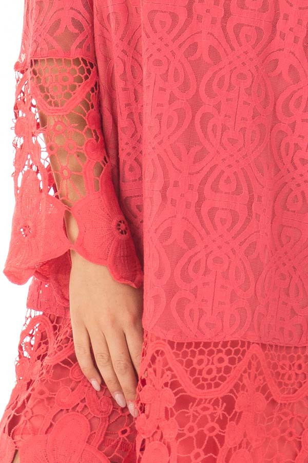 Coral Dress with Sheer Lace Detail front detail