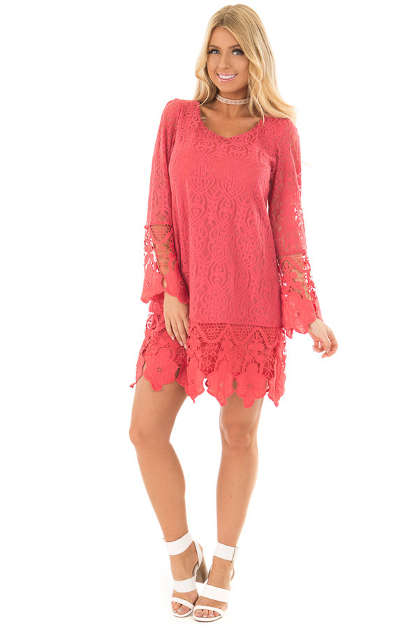 Coral Dress with Sheer Lace Detail front full body