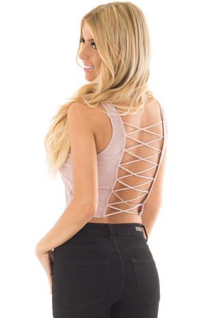 Mauve Cropped Tank Top with Open Back Detail over the shoulder closeup