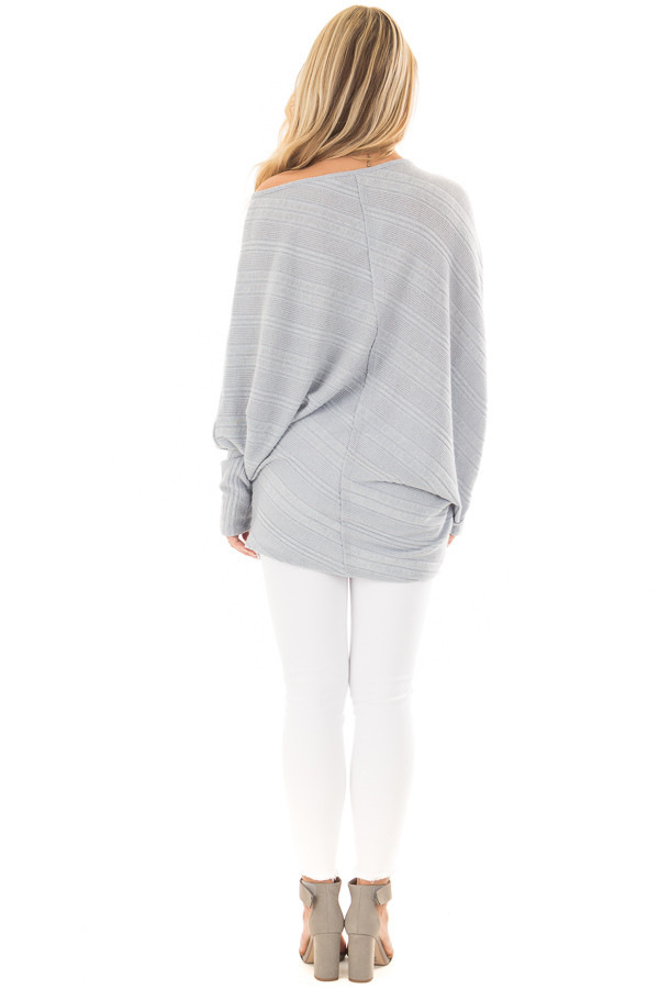 Faded Blue Striped Asymmetrical Top back full body