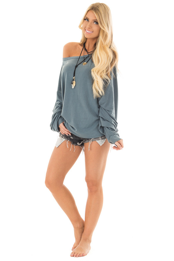 Dusty Teal Comfy Bubble Sleeve Top front full body