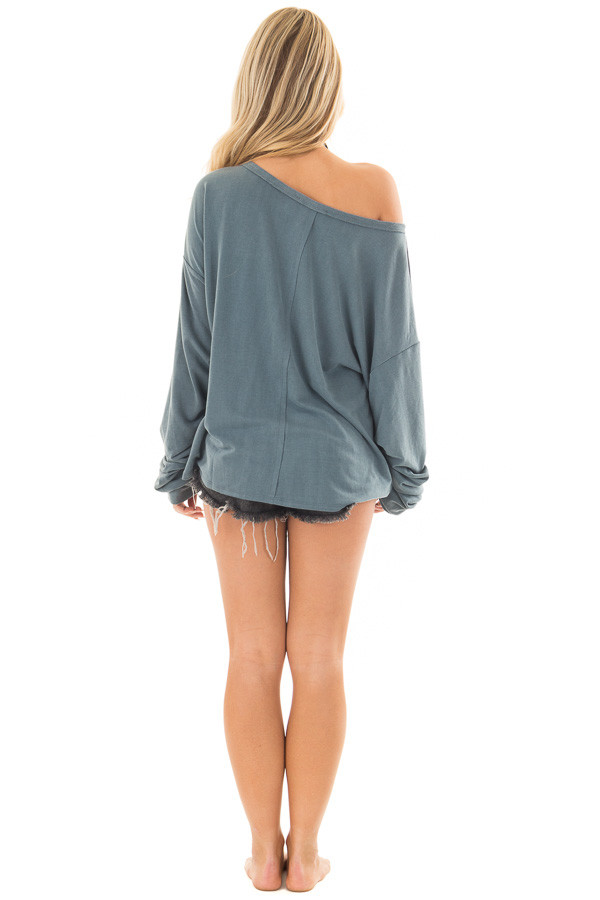 Dusty Teal Comfy Bubble Sleeve Top back full body