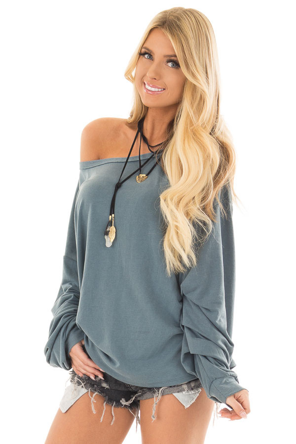Dusty Teal Comfy Bubble Sleeve Top front closeup