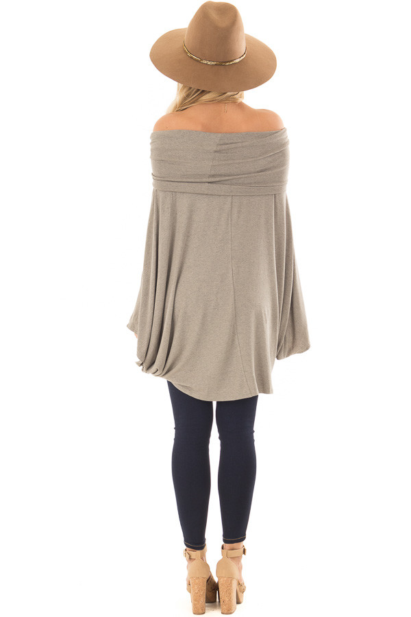 Faded Olive Fold Over Off the Shoulder Poncho Style Top back full body