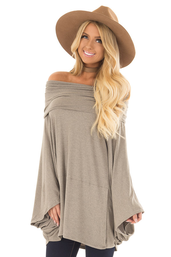 Faded Olive Fold Over Off the Shoulder Poncho Style Top front closeup