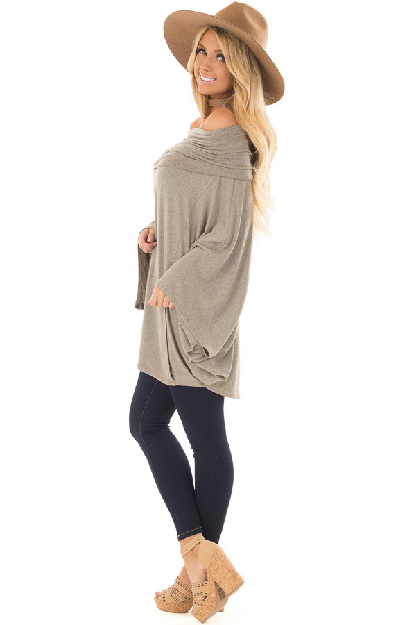 Faded Olive Fold Over Off the Shoulder Poncho Style Top side full body