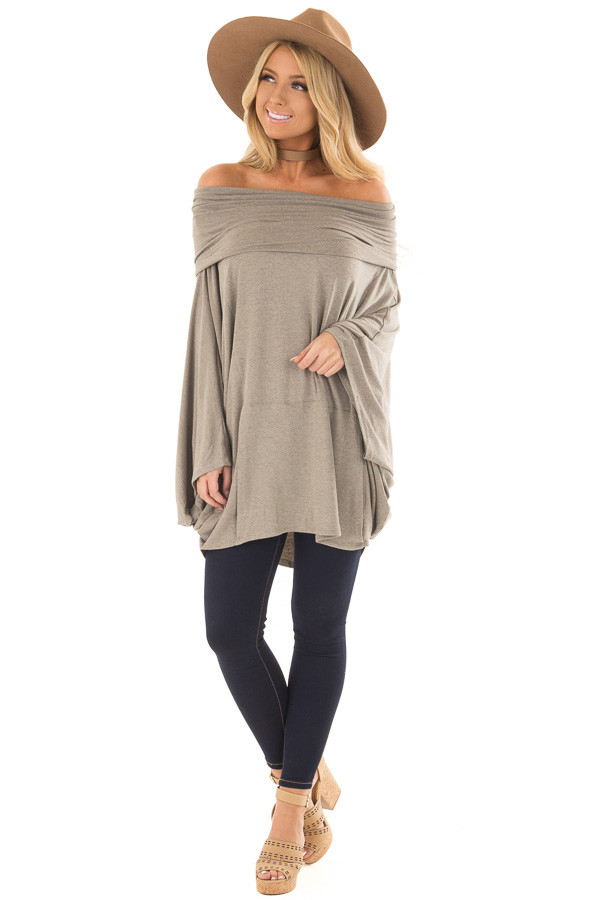 Faded Olive Fold Over Off the Shoulder Poncho Style Top front full body