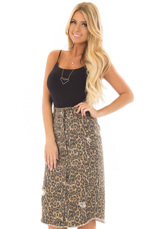 Leopard Print High Waist Midi Skirt with Distressed Details front closeup