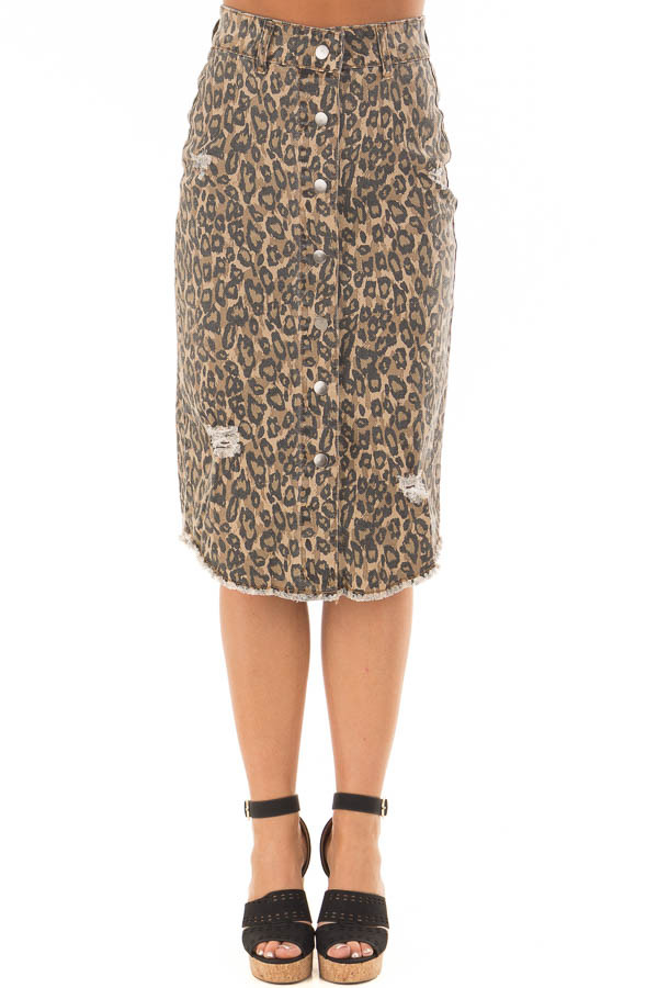 Leopard Print High Waist Midi Skirt with Distressed Details front