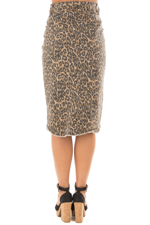 Leopard Print High Waist Midi Skirt with Distressed Details back