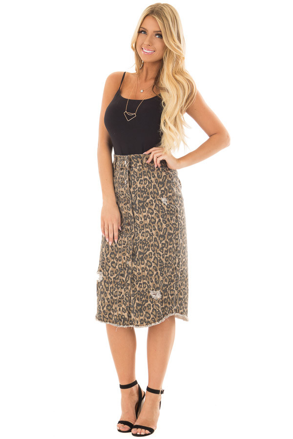 Leopard Print High Waist Midi Skirt with Distressed Details front full body