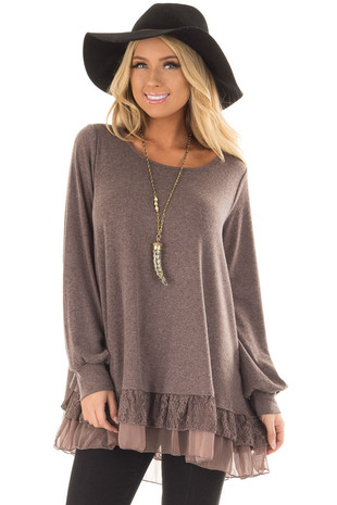 Mocha Soft Long Sleeve Top with Layered Lace Trim front closeup