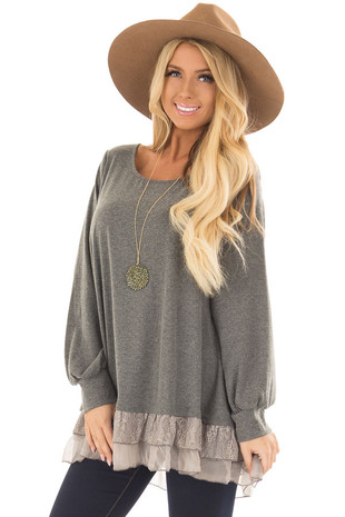 Olive Grey Soft Long Sleeve Top with Layered Lace Trim front closeup