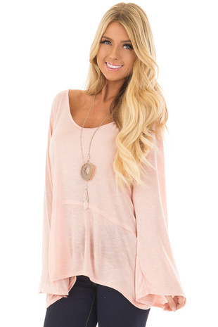 Light Pink V Neck Top with Flare Sleeves front closeup