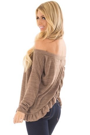 Mocha Off the Shoulder Top with Ruffle Split Back Detail over the shoulder closeup