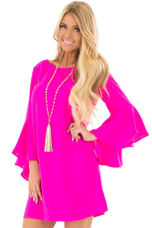 Hot Pink Dress with Trumpet Sleeves front closeup