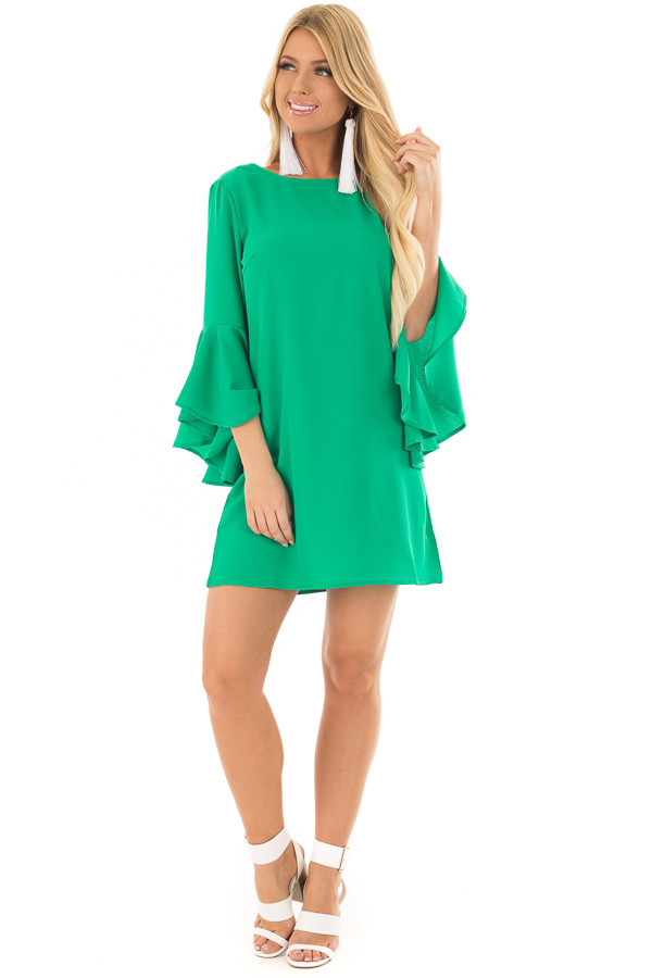 Kelly Green Dress with Trumpet Sleeves front full body