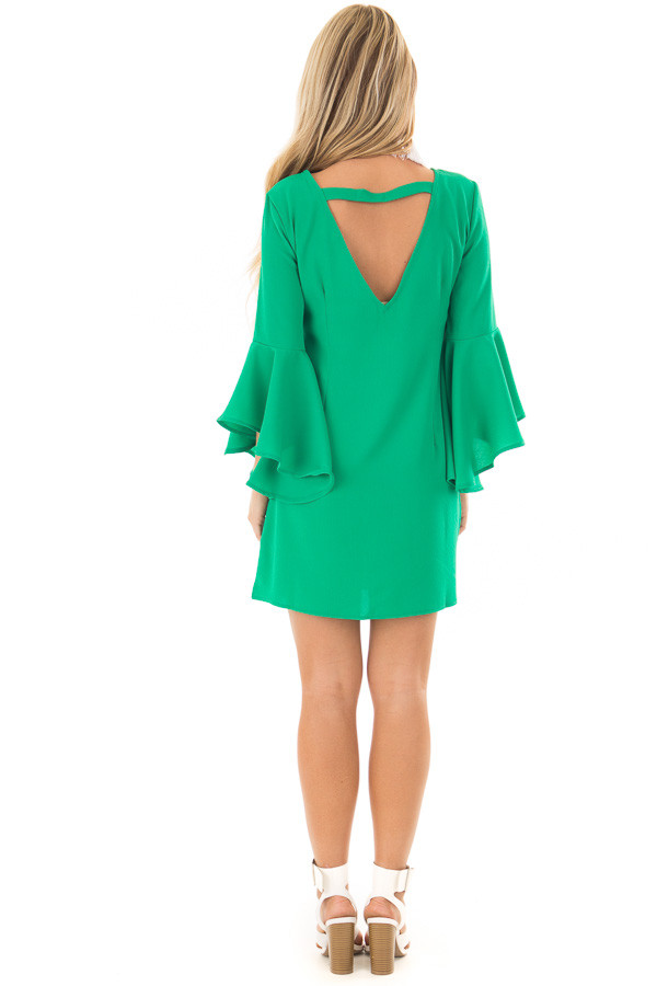 Kelly Green Dress with Trumpet Sleeves back full body