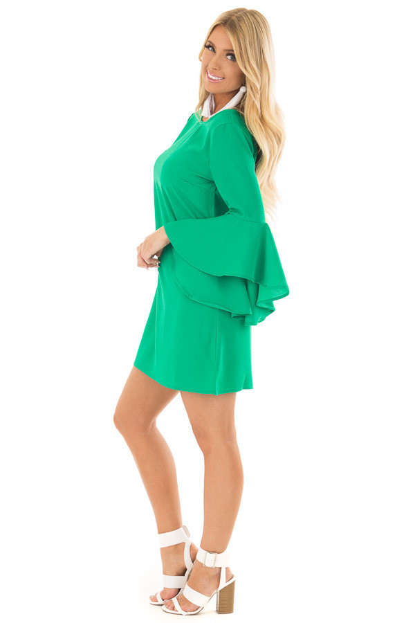 Kelly Green Dress with Trumpet Sleeves side full body
