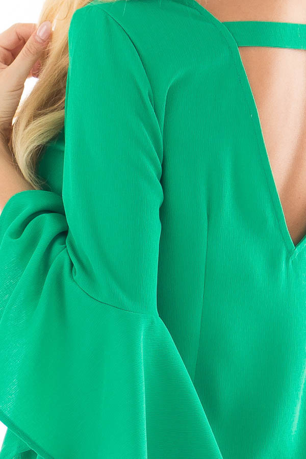 Kelly Green Dress with Trumpet Sleeves back detail