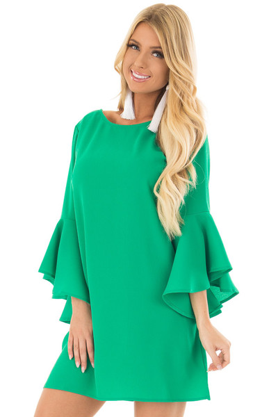 Kelly Green Dress with Trumpet Sleeves front closeup