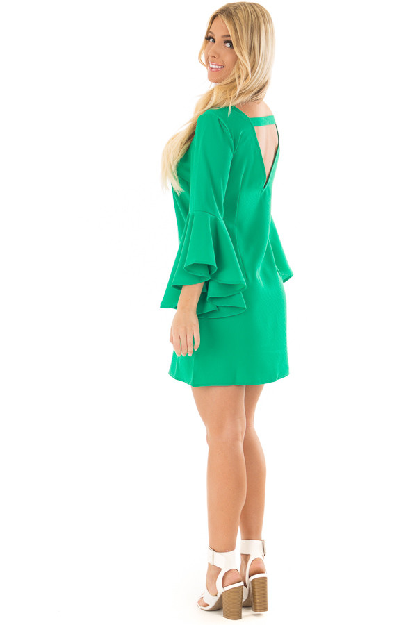 Kelly Green Dress with Trumpet Sleeves over the shoulder full body