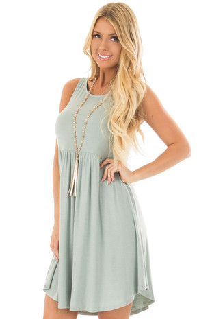 Blue Sage Sleeveless Swing Dress front closeup