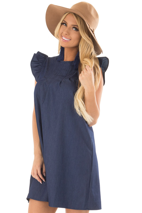 Denim Dress with Ruffle Sleeves and Keyhole Back front closeup
