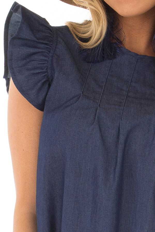 Denim Dress with Ruffle Sleeves and Keyhole Back front detail