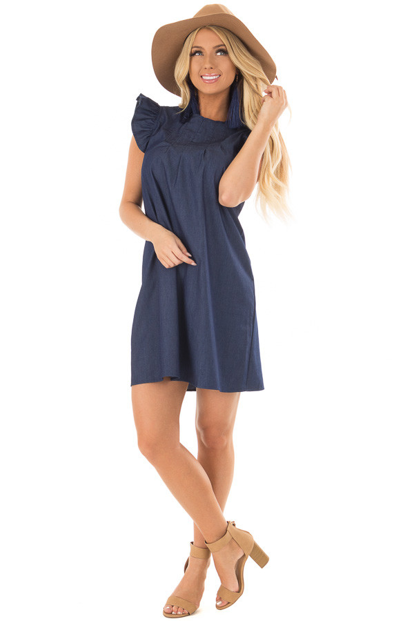 Denim Dress with Ruffle Sleeves and Keyhole Back front full body