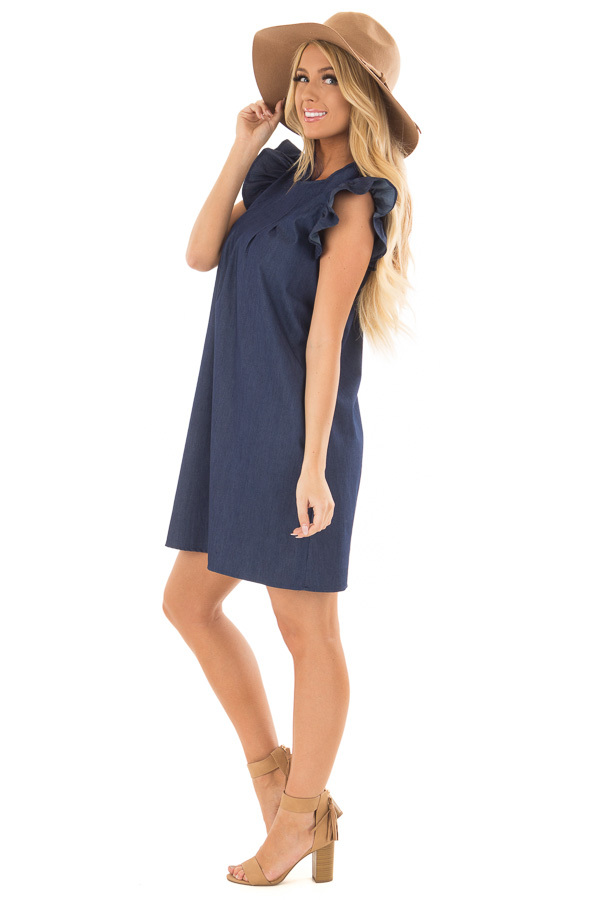 Denim Dress with Ruffle Sleeves and Keyhole Back side full body